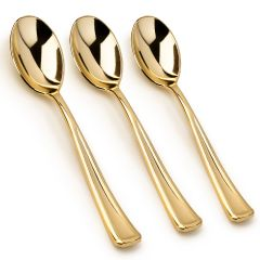 100 - Disposable Gold Spoons Looks Like Gold Plastic Silverware - Solid, Durable, Heavy Duty Cutlery …