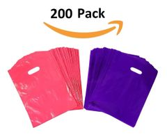 "200 Purple and Pink Glossy Merchandise Bags, Shopping Bags, 9"" X 12"" with Die Cut Handle, No Gusset, 1.25 Mil."