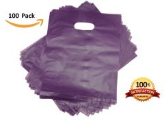 "100 Purple Merchandise Bags, Shopping Bags, 12"" X 15"" with Die Cut Handle, No Gusset, Strong HDPE 2.0 Mil."