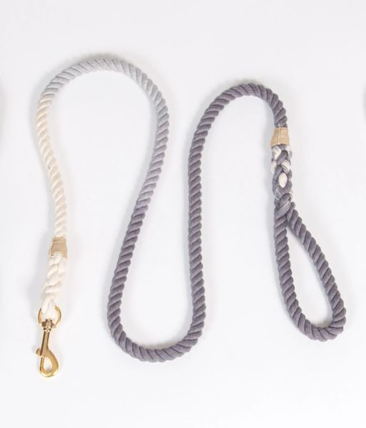 Grey Ombre Hand Dyed Rope Leash 5'