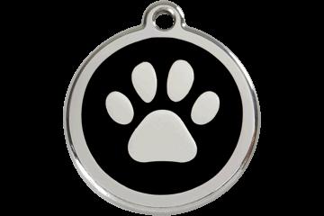 Red Dingo Paw Print Pet Tag