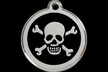 Red Dingo Skull & Cross Bones Pet Tag