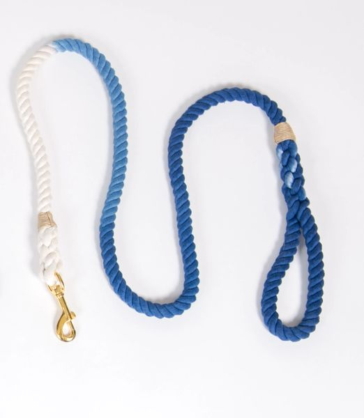 Blue Ombre Hand Dyed Rope Dog Leash 5'