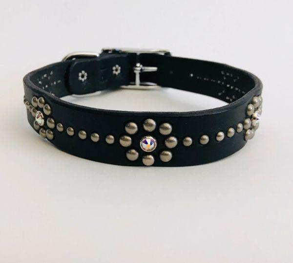 "Ruff Puppies Charlotte Black Leather Dog Collar- Swarovski Crystals Size 18"""
