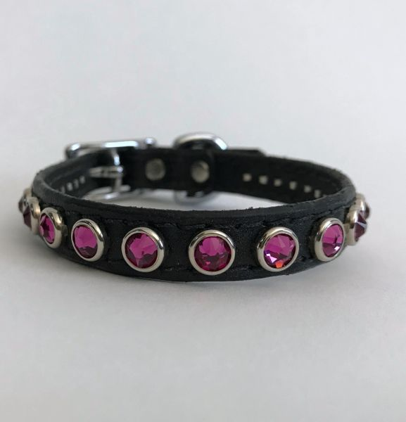 "Ruff Puppies New York Black Leather Collar with Swarovski Crystals 11"""