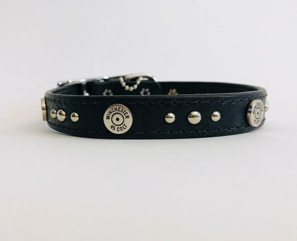 "Ruff Puppies Topeka Black Leather Dog Collar with Winchester Colt 45 Studs- 16"" Length"