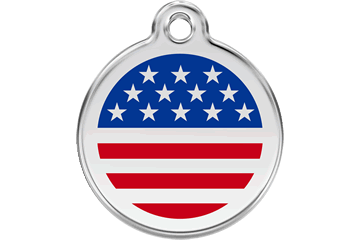 Red Dingo American Flag Pet Tag
