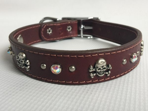 Ruff Puppies Baton Rouge Leather Dog Collar with Skulls and Crossbones 16""