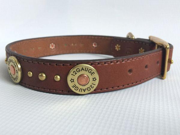 "Handmade Leather Dog Collar with 12 Gauge Studs 18"""