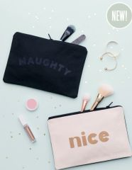 Naughty/Nice Large Canvas Pouch