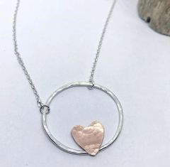 Circle and Heart Necklace