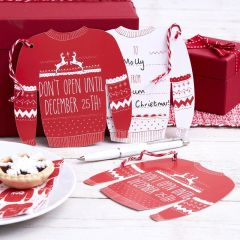 Red & White Festive Giant Jumper Gift Tags