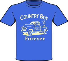 Country Boy Forever Youth, Toddler, and Infant Short Sleeve and Long Sleeve Shirts Royal with Khaki Print