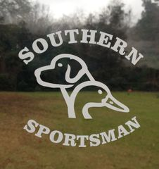 Southern Sportsman Duck / Dog design White and Khaki decal 4x4