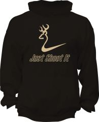 Just Shoot It Mens Hoodie, Black with Khaki