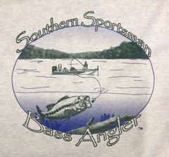 Southern Sportsman Bass Angler Short Sleeve T shirt, Sport Grey with Blue and Green print