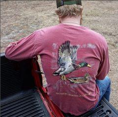 Flying Mallard Ducks Crimson Short and Long Sleeve Shirts.