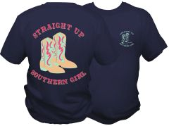 Straight Up Southern Girl (Cowgirl Boots) - Navy Short Sleeve T Shirt - Southern And Sassy COLLECTION