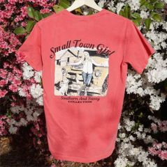Small Town Girl on Melon Short Sleeve Shirts Southern And Sassy Collection