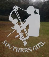 White & Mint Green Southern Girl Bow Huntress decal ( 5 x 4.5 )