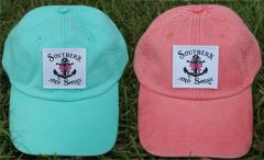 Southern And Sassy Anchor & Bow Patch Hats and Visors 15 Colors.