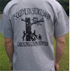 Carolina Coon Hunter 2 Short Sleeve t shirt, Sport Grey with Black Print