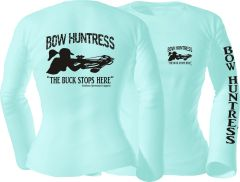 Bow Huntress ' The Buck Stops Here ' Crossbow Short and Long Sleeve Celadon T shirts with Black Print