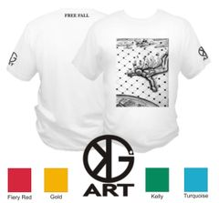 Free Fall - Kyle Gainey Art T Shirt - Sky Diving, Fire, Plane, Clouds, Earth, Abstract Original Art