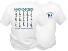 ' Hooked ' Dri Fit Fishing Shirt - White Short Sleeve