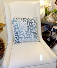 Ivory & Blue Coral Throw Pillow