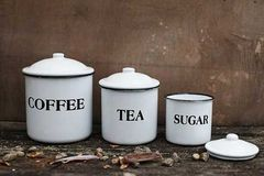 Set of 3 White Enameled Metal Coffee Tea Sugar Containers with Lids