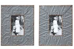"4x6"" Embossed Tin Photo Frame, 2 Styles"