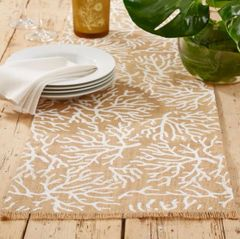 Natura Jute Table Runner With Frayed Edge