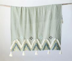 Cotton Woven Embroidered Throw