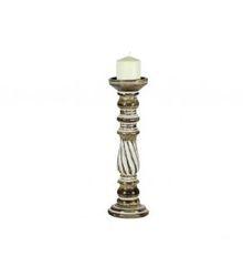 """16"""" Twist Antique Whitewash Candle Holder"""
