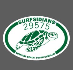 29575 Green & White Sea Turtle Logo Surfsidians Decal (4x6)