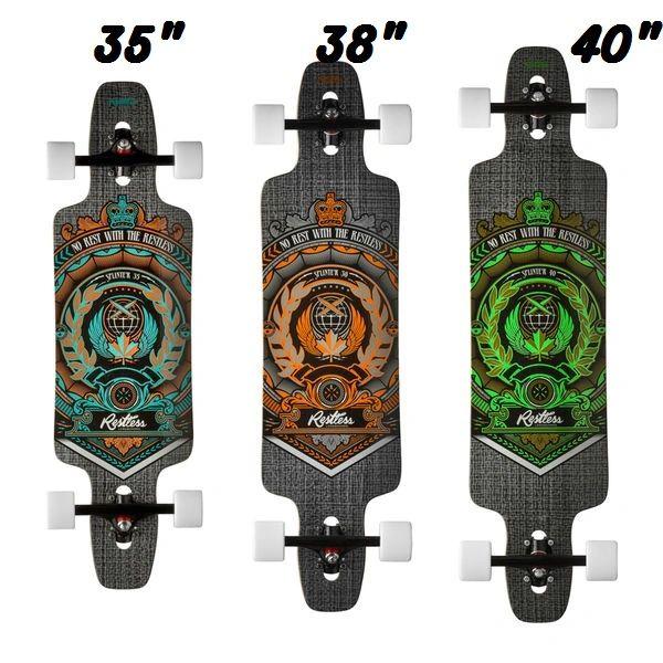 Restless Splinter Fl Crest Longboard Skateboard Complete 35 38 40