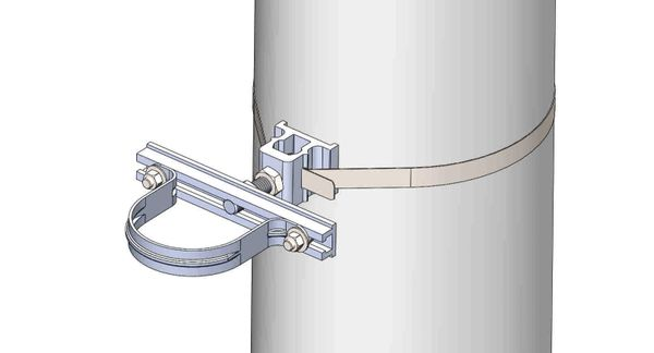 """NW-3QB-.75-8U-3.5X--------Mount a 3.5"""" conduit on concrete or steel pole with 3/4"""" Stainless Steel banding."""