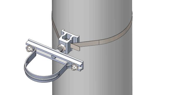 """NW-3QB-.75-8U-4X--------Mount a 4"""" conduit on concrete or steel pole with 3/4"""" Stainless Steel banding."""