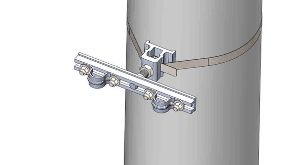 """NW-3QB-.75-10U-.75XX----Mount two .75"""" conduits on concrete or steel pole with 3/4"""" Stainless Steel banding."""
