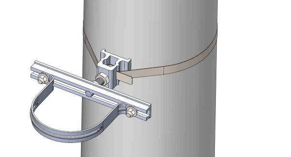 """NW-3QB-.75-10U-5X--------Mount a 5"""" conduit on concrete or steel pole with 3/4"""" Stainless Steel banding."""