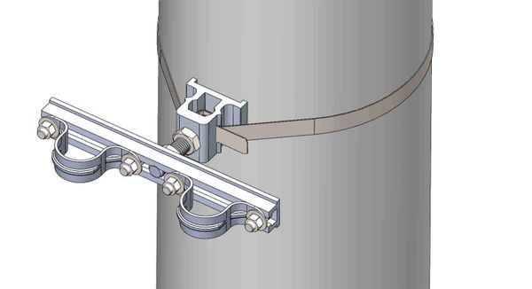 """NW-3QB-.75-10U-1.25XX----Mount two 1.25"""" conduits on concrete or steel pole with 3/4"""" Stainless Steel banding."""