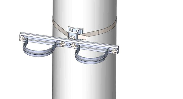 """NW-3QB-.75-16U-4XX-----Mount two 4"""" conduits on concrete or steel pole with 3/4"""" Stainless Steel banding."""