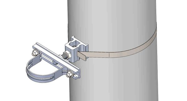 """NW-3QB-.75-7U-3X--------Mount a 3"""" conduit on concrete or steel pole with 3/4"""" Stainless Steel banding."""