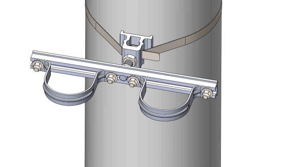 "NW-3QB-.75-14U-3XX----Mount two 3"" conduits on concrete or steel pole with 3/4"" Stainless Steel banding."