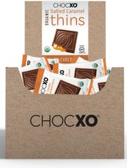 "ChocXO Organic Dark Chocolate ""Thins"" w/Carmel Filling - 48 Count Retail Display"