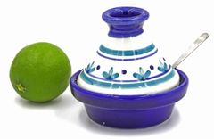 "Le Souk Ceramique Mini Tagine Condiment Dish""Salt Bowl"" with Serving Spoon. Handmade and Painted in Tunisia"