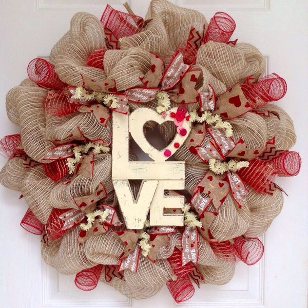 Love Button Natural Burlap Valentines Day Deco Mesh Wreath What A