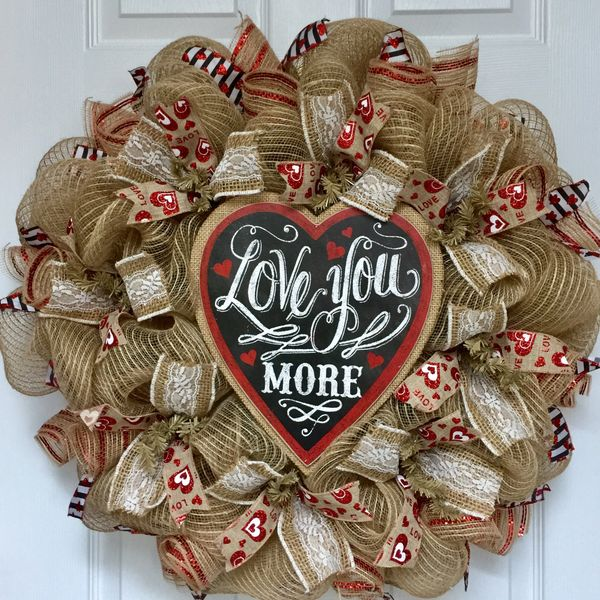 Valentine S Day Love You More Burlap Heart With Lace Deco Mesh