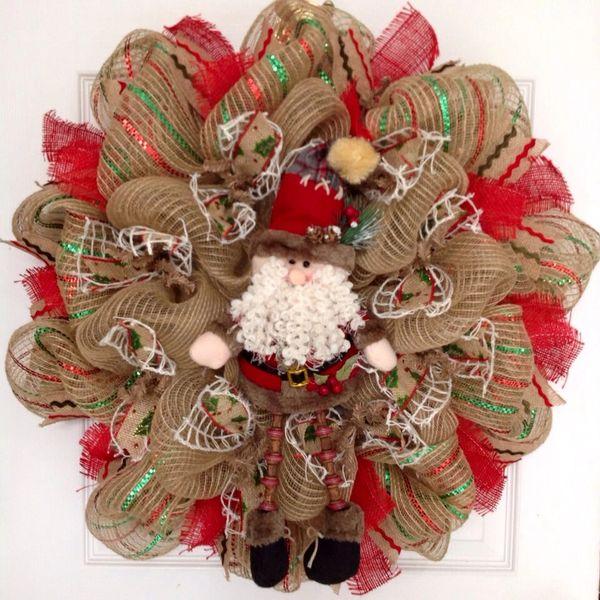 fuzzy beard old world santa with dangling legs deco mesh christmas wreath - Deco Mesh Christmas Wreath